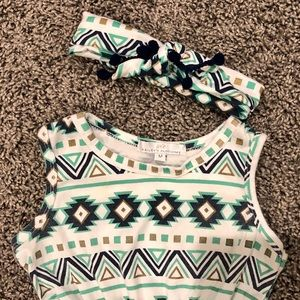 Bailey's Blossoms One Pieces - Aztec pom pom romper with matching headband